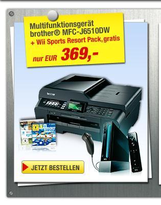 Multifunktionsgerät J6510DWvon brother® + Wii Sports Resort Pack  & Cashback
