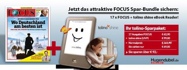 """17 Ausgaben des """"Focus"""" +Tolino Shine eBook Reader für 69,-"""