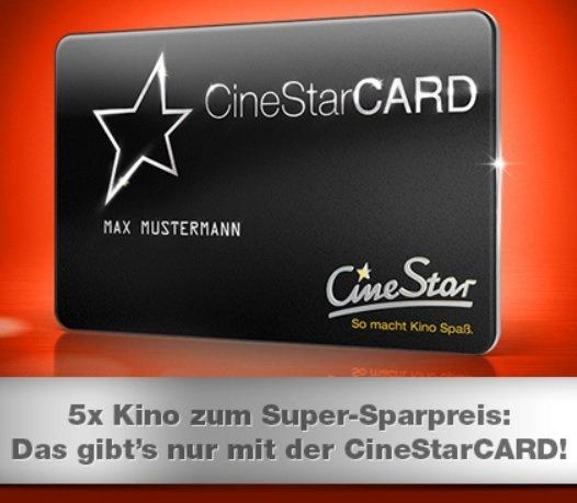 Cinestar - 5-Sterne-Ticket für 25EUR anstatt 32,50EUR im Onlineshop