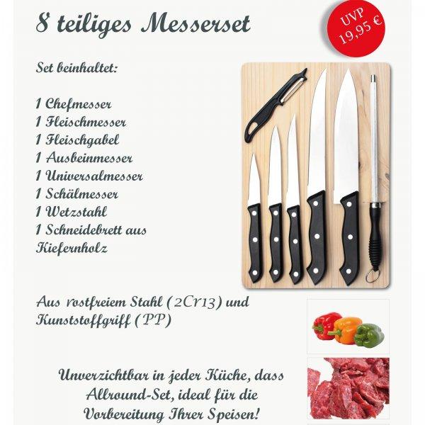 Messerset mit Holzbrett 8 tlg. für 9,95€ inkl. Versand @ebay