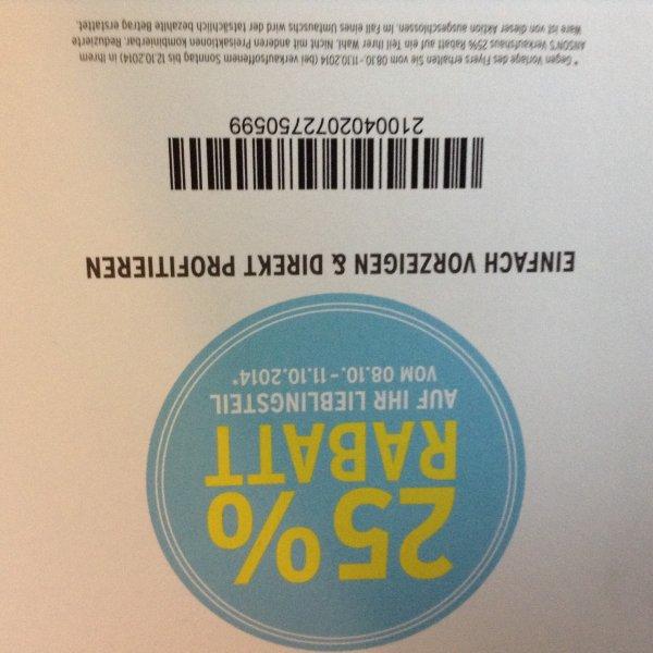 25 % Rabatt bei Anson's bis einschließlich 11.10.14 [offline]