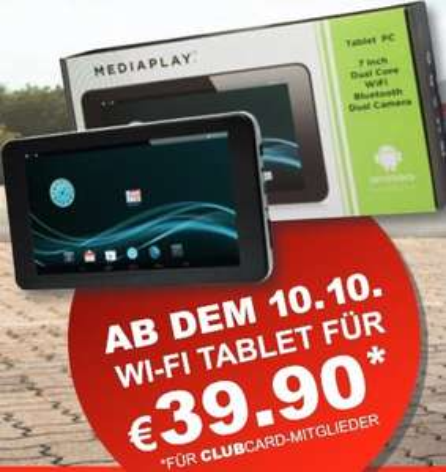 [Lokal Grenze Tschechien] 7-Zoll Tablet MEDIAPLAY - WLAN - Bluetooth - Kamerafunktion - Allwinner A23 Prozessor + weitere Angebote (zB. DALLMAYR PRODOMO für 3,99€) @TRAVEL FREE