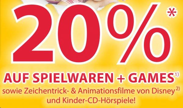 20% auf alle Spielwaren, Konsolen- & PC-Games und Disney-DVDs/Blu-rays @Müller