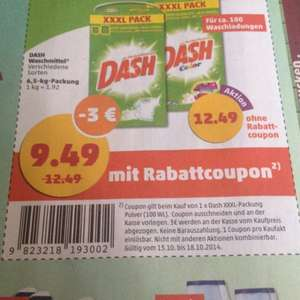 [Bundesweit] Waschpulver Dash XXXL Pack 100 Waschladungen