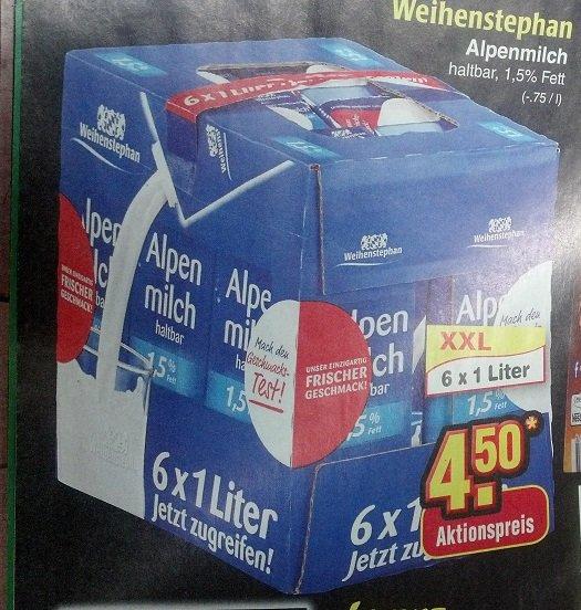 [Netto Marken-Discount]: 6x1 l Weihenstephan Alpenmilch 1,5% Fett für 4,50 EUR [0,75 EUR pro Packung]