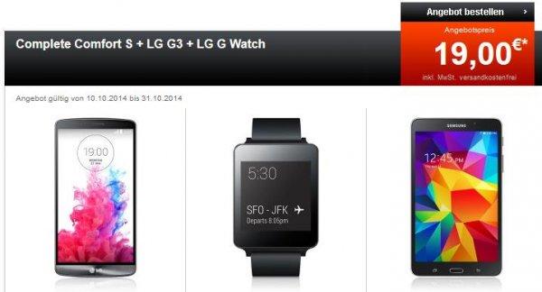 Telekom Comfort S 29,95€/Monat mit LG G3, LG G Watch und Samsung Galaxy Tab 4 7.0