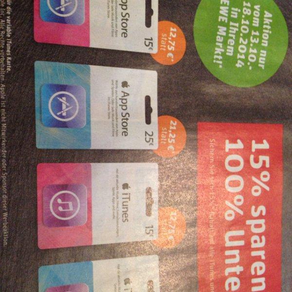 (REWE) iTunes und App Store Karten 15% billiger