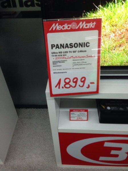 [MediaMarkt] [Lokal] Gropius Passagen - Berlin Panasonic TX-58AXW804 - 58 Zoll UHD - idealo 2599,-