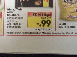 5+1 Snickers , Mars oder Twix 99 cent