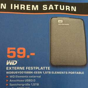 Saturn Bremerhaven: WD Elements 1,5 TB, 2,5""