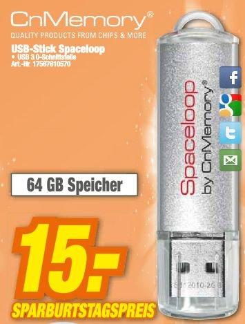 [lokal] CnMemory Spaceloop 64GB USB-Stick 3.0 für 15€ [@HEM-Expert]