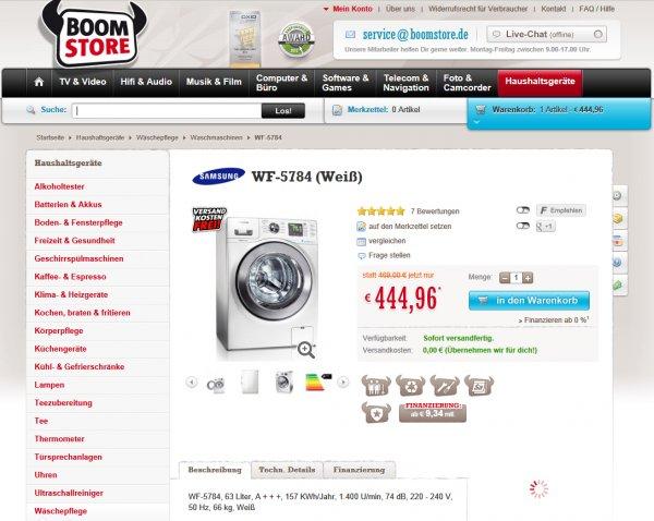 Samsung Waschmaschine WF57846 echt billig mit Lieferung 1400 Test gut
