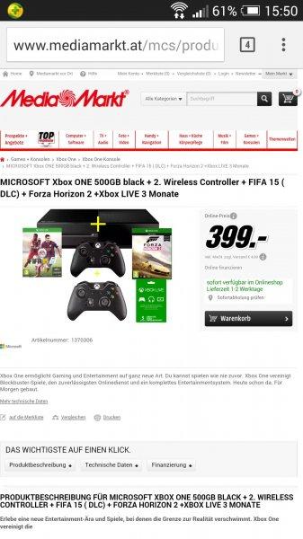 Xbox One + FIFA 15, Forza Horizon, 2 Controller und 3 Min. Gold für 399 bei MM AT