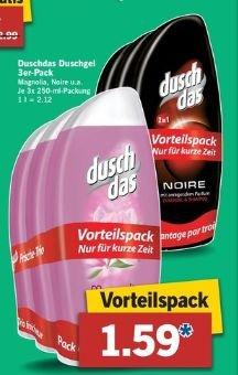 Duschdas Duschgel 3erPack à250 ml für 1,59€ ab 16.10.2014@Lidl