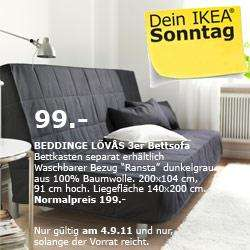 [LOKAL?] @ IKEA: nur am 04.09.2011: 50 % auf das BEDDINGE LÖVÅS 3er-Bettsofa mit dem Bezug Ransta dunkelgrau: 99.- statt 199.- Euro