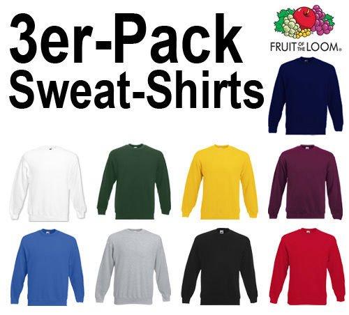 3er-Pack FRUIT OF THE LOOM Sweatshirts Erwachsene Gr. S - XXXL mit verschiedenen Farbkombinationen @Dealclub