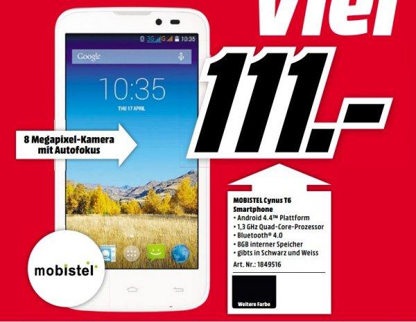 "[lokal Mediamarkt Karlsruhe] Mobistel Cynus T6 Dual-Sim für 111€ (5"" Smartphone, 1GB RAM, KitKat, 4.000 mAh Akku)"