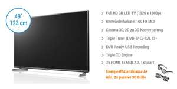 LG 49LB620V 49 Zoll 3D LED-TV Triple Tuner für 519,- Notebooksbilliger