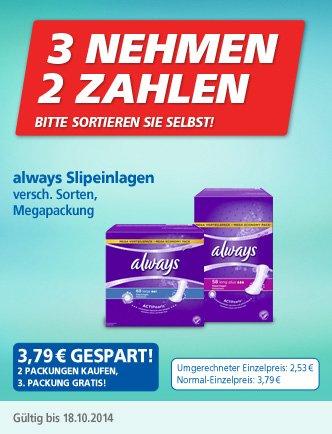always Slipeinlagen Megapackungen bei real,- 3 für 2 im Angebot+1€ von P&G