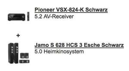 Pioneer VSX-824-K (5.2 AV-Receiver) + Jamo S 628 HCS Heimkinosystem für 799€ @Redcoon.de