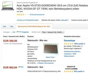 Acer Aspire V5-573G-54208G50AII - Intel Core i5 4200U, 2,6GHz, 8GB RAM, 500GB HDD, NVIDIA GF GT 750M, Windows 8-64bit, silver