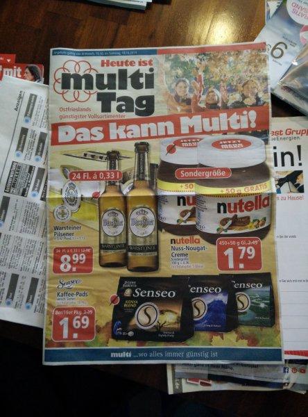 (Lokal -Leer/Emden) Multi Märkte: u.a. Nutella 500gr. für 1,79 € und Kiste Warsteiner für 8,99 €