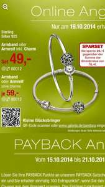 [Nur am 19.10.14] Pandora Armband oder Armreif inkl. Charm für 49 €