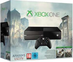 Xbox One 500 GB Konsole+Assassin's Creed Unity+Assassin's Creed Black Flag+Xbox One Chat Headset:+14 Tage Xbox Live Gold-Mitgliedschaft für 399€@gameware.at VÖ 03.11.2014