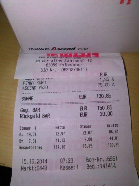 Huawei Ascend Y530 bei Penny in Kolbermoor für 79 Euro