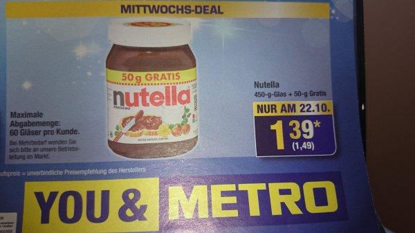 NUTELLA am 22.10 Mittwochsdeal bei Metro nur 1,49 euro