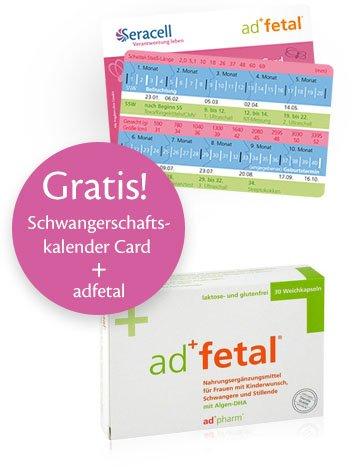Gratis Schwangerschaftskalender Card + adfetal, Nahrungsergänzung für Schwangere + Gratis-Bauchband