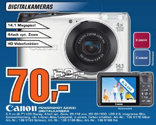 [Saturn Stuttgart & Esslingen] Prospekt --> z.B. Canon PowerShot A2200 für 70 Euro und weitere tolle Angebote