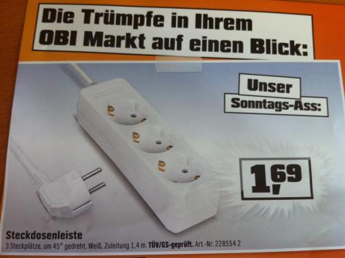 Offline Lokal Berlin OBI Baumarkt 3er Steckdosenleiste 1,69€ - nur am 4.09