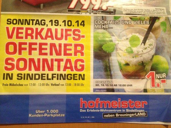 [Lokal] Cocktails für 1€ am Sonntag bei Hofmeister Sindelfingen