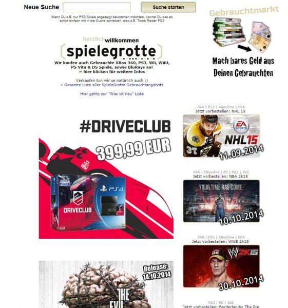 Driveclub + PS4 Bundle (schwarz) bei Spielegrotte 399€