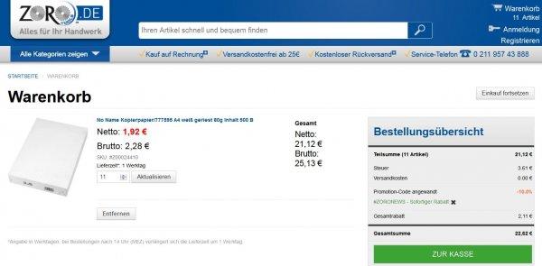 DIN A4 Papier - 500 Blatt für 1,94€ (11 Pakete für 21,36 inkl. Versand)