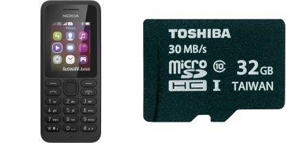 Nokia 130 Dual-SIM + 32GB Class10 microSD für 30€26