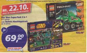 [Real]  Lego Technic - Abschlepptruck 42008  oder LEGO Star Wars™, 66495 Super-Pack 3 in 1  je 69€
