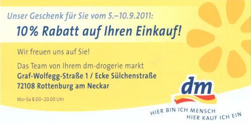 Lokal: Rottenburg a.N.: DM 10% vom 5.-10.9.2011