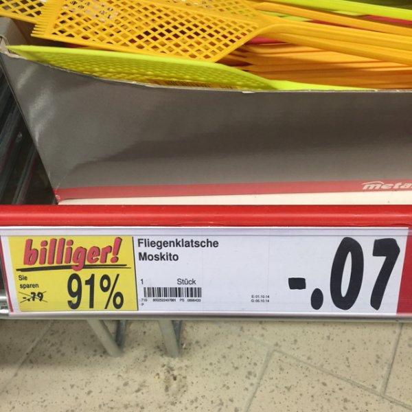 0,07€ Fliegenklatsche Moskito Kaufland Velbert Bundesweit!