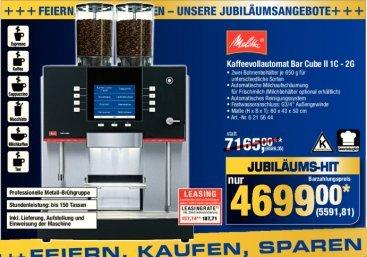 Kaffeevollautomat Melitta Bar Cube 1C-2G für 5591,81 € inkl. Lieferung, Aufstellen und Einweisen @ Metro