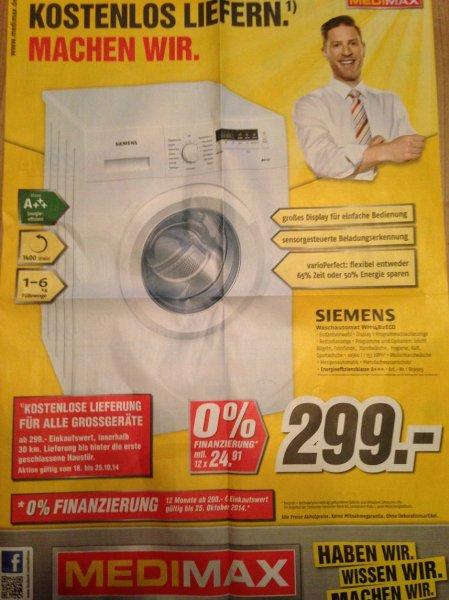 [Offline] Siemens WM14B2ECO Waschmaschine (A+++, 6kg, 1.400 U/min, kostenlose Lieferung) @ Medimax [ggf. nur Mecklenburg-Vorpommern]