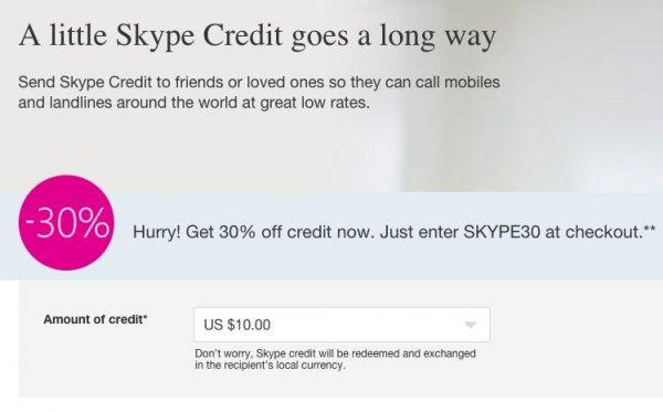 Skype Guthaben mit 30% Rabatt kaufen (z.B. 10$ für 7$)