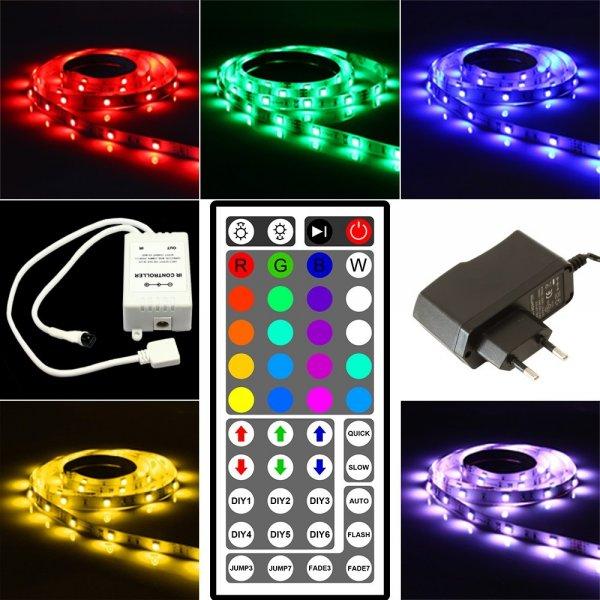 [Aliexpress CN] Preis gilt nur noch ~11 Stunden! 5 Meter LED Rgb 5050 Strip nicht Wasserdicht 60 Led/m mit 44er Fernbedienung + 12V 6A Power Adapter (KOMPLETTPAKET) 15,54€