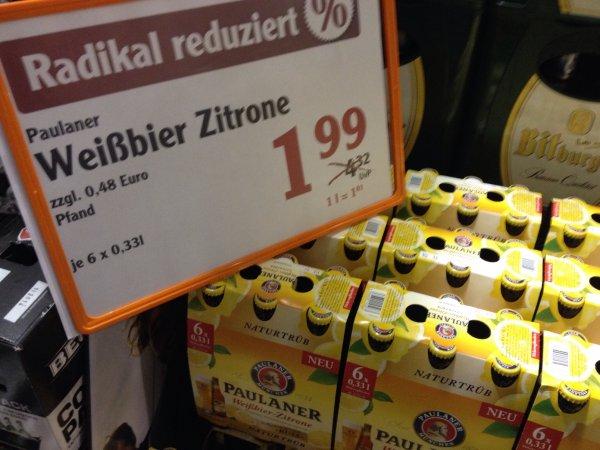 Paulaner Weißbier-Zitrone 6x0,33l für 1,99 Euro - Globus Forchheim Getränkemarkt
