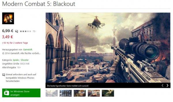 Modern Combat 5: Blackout für 3,49€ im Windows Store