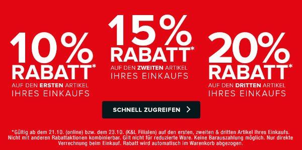 Kombination aus Rabatt 10% auf ersten Artikel, 15% auf zweiten, 20% auf dritten, Newsletter 5.- und versandkostenfrei bei K&L Ruppert