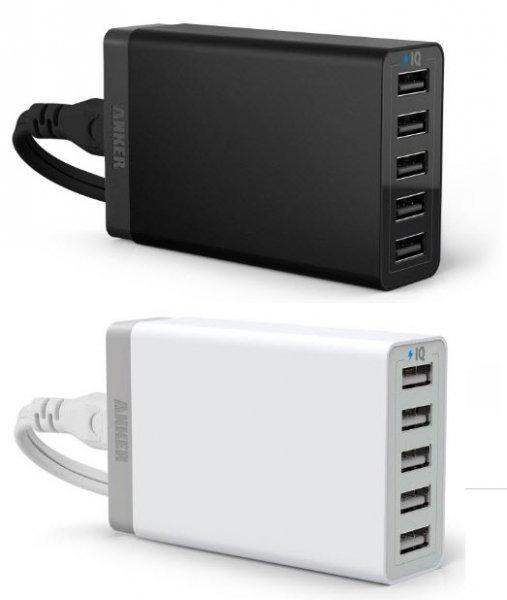 Anker 40W 5V / 8A 5-Port USB Ladegerät in Weiß für 16,99 € (Amazon Prime)