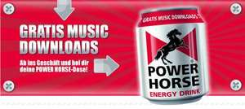 Power-Horse Energy-Drink für 0,99€ kaufen und Code für 5 beliebige Musik-Downloads erhalten