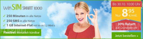 WinSIM Smart 1000 o2 Netz - 250 Minuten, 250 SMS, 1GB Internet, monatlich kündbar, pro Monat 8,95€
